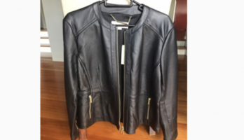 Ladies Black Leather Jacket Sz L – Michael Kors