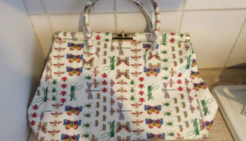 Italian Leather Bag with Cool Insect Print – As New