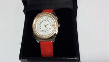 Guess Women's Medium Round genuine Red Leather Strap Watch